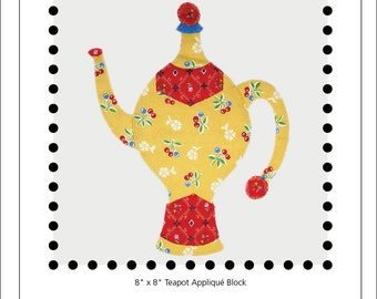 Three Wishes teapot appliqué block