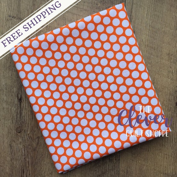 Quilting Fabric, Riley Blake, White Honeycomb Dot on Orange  Basics