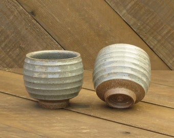 Teabowl - Yunomi - Carved - Ceramic Cup - Stripe - Green Celadon Glaze - Wheel Thrown - Reduction - Go Play Clay - Guiliotis - Made to Order