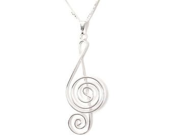Sterling Silver Treble Clef / Musical Note Necklace
