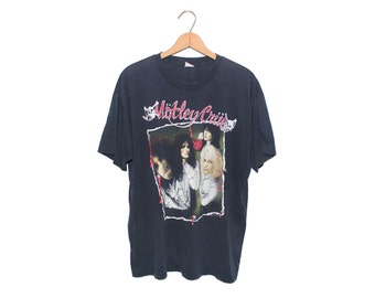 Vintage Mötley Crüe Dr. Feelgood Tour Black 50/50 Poly-Cotton Blend T-shirt - Large (OS-TS-55)