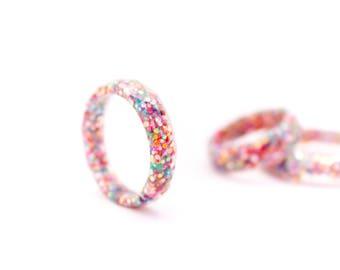 Glitter resin ring ,Fancy it is,handmade ring colored glitter, sparkling ring, cool ring, resin ring, wedding ring, engagement ring,romantic