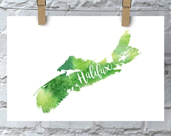 Custom Nova Scotia Map Art, NS Watercolour Heart Map Home Decor, Halifax or Your City Hand Lettering, Personalized Giclee Print, 5 Colours