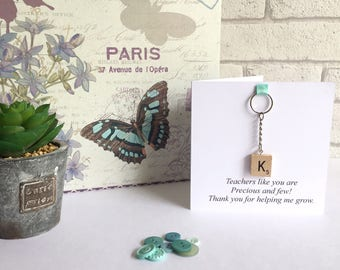 Teacher thank you card - key ring - Teacher gift - Teacher appreciation card - end of year card - Card for Teacher - Thank you Teacher gift