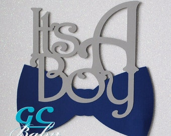 It's A Boy & Bowtie Cake Topper and Centerpiece Picks - Baby Shower or Party Decoration in ANY Color Paper