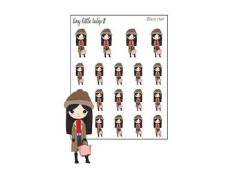 Planner Stickers Doodle Girl Shopping