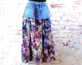 Boho ruffle skirt -Hippie ruffle skirt -Denim festival skirt - gypsy denim skirt -size 6    #21