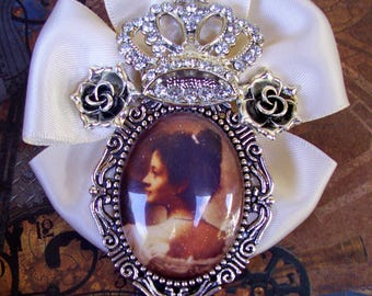 Hawaiian Monarchy Brooch (P801) Princess Kaiulani Tribute Pin Version III, Silver and Ivory, Crystals, Crown, Satin Ribbon, Tie Tacks