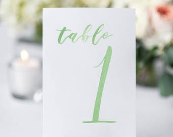Watercolor Wedding Table Numbers GREEN // table cards // watercolor // wedding // table numbers // paper table cards // watercolor card