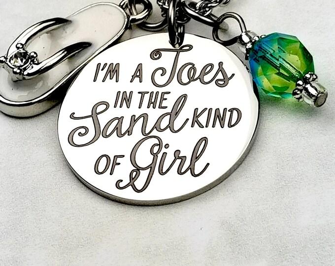 Engraved Toes in the sand pendant, beach jewelry,flip flops, summer jewelry, salty hair, bikinis, summertime, jersey shore, beach bum