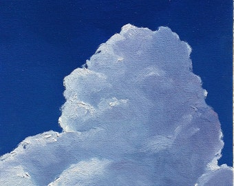 """Storm Brewing, 8 x 10"""" original oil painting. Yvonne Wagner. Clouds. Cloud painting. Sky. Blue. Free Shipping to USA. Sale."""