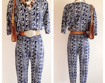 SALE! Vintage 1990s Boho Blue Jumpsuit