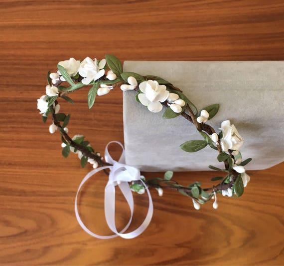 Wedding White Flower Crown: White Green Flower Crown Wedding Floral Crown Wedding Headband