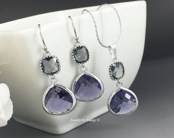 Bridesmaid Gift Bridesmaid Jewelry Silver Necklace Purple and Grey Earrings Maid of Honor Gift Mother of Groom Gift Mother of Bride Gift