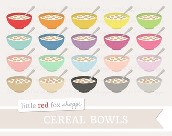 Cereal Bowl Clipart, Breakfast Clip Art Food Bowl of Cereal Milk Cooking Baking Kitchen Cute Digital Graphic Design Small Commercial Use