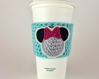 Minnie Epcot Ball Coffee Cup Cozy / Crochet Coffee Sleeve / Reusable Cozie / Customizable