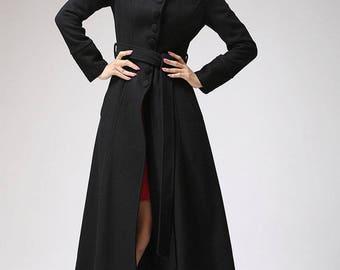 Black coat, dress coat, mandarin collar, long coat, womens jacket, winter jacket, buttoned coat, belted coat, street fashion  (717)
