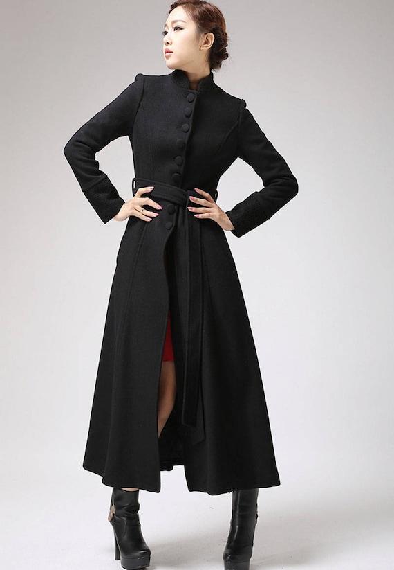 Black coat dress coat mandarin collar long coat womens