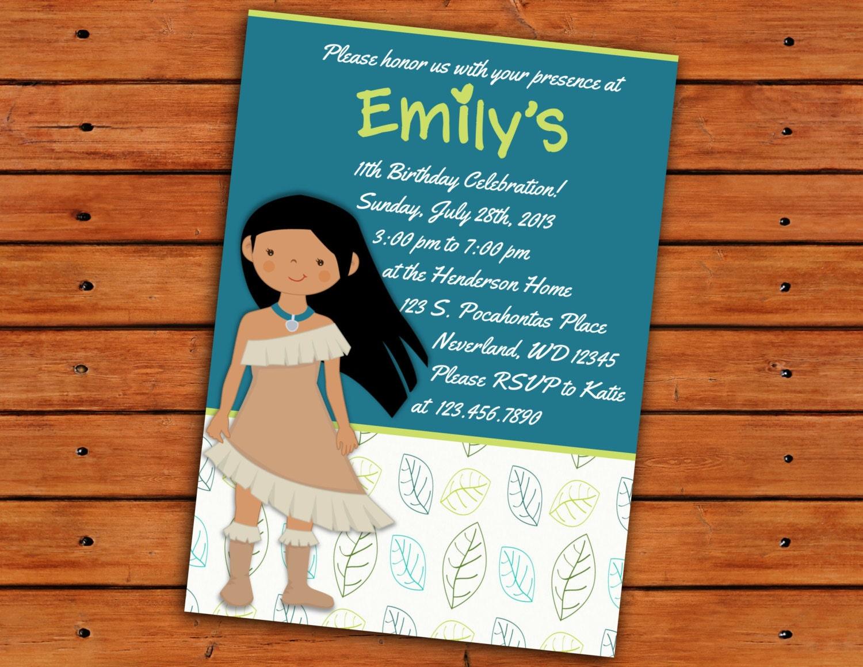 Pocahontas birthday party invitation 5x7 printable zoom monicamarmolfo Image collections