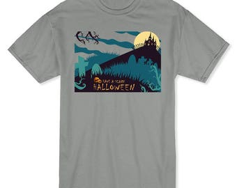 Have A Scary Halloween Haunted House And Pumpkin Men's Heather Grey T-shirt