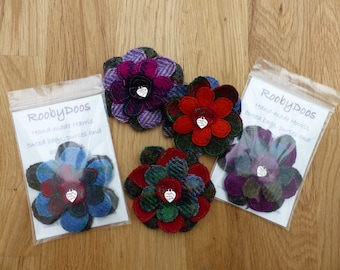 Harris tweed flower brooch / corsage