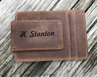 Brother Gift 10 Year Anniversary Gifts For Men Leather Money Clip Personalized Money Clip 3rd Anniversary Gift Husband Gift Boyfriend Gift
