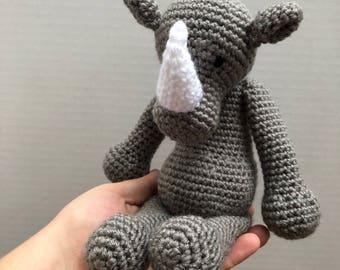 Crochet Rhino - MADE TO ORDER - Handmade Crochet Amigurumi Toy Doll - Rhino Crochet - Amigurumi Rhino - Newborn Prop