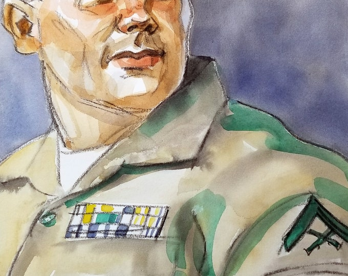 Beefcake in a Uniform, watercolor on cotton paper 11x14 inches by KennEy Mencher