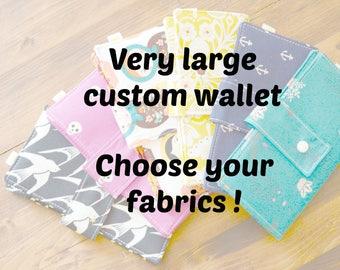 Large custom wallet, large custom women wallet, very large wallet, custom, big wallet, extra large custom wallet, fabric wallet, vegan