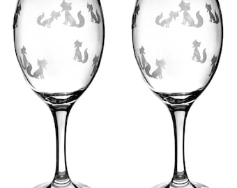"""Wine glass """"Little foxes"""""""