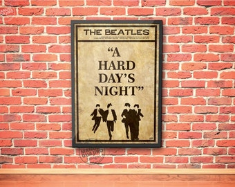 The Beatles - A hard day's night - minimalist poster - movie poster, film poster, vintage poster, retro poster, print