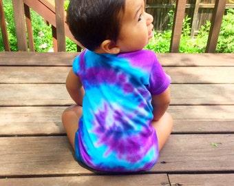 Blue And Purple Tie Dye Baby Onesie + FREE SOCKS