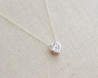 Diamond Heart Necklace, CZ diamond Necklace, Sterling Silver Chain, Bridesmaids Necklace, Birthday Gift, Mothers Day Gift, Bridesmaid gift