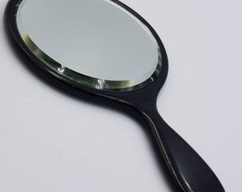 Antique Ebony Mirror with Bevelled Edge. Round. Beautiful Quality London Made. c1900
