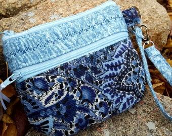 Corduroy Wristlet, Zippered Cosmetic Bag, Small Wristlet, Blue Zipper Bag, Double Zipper Wristlet, Fabric Wristlet