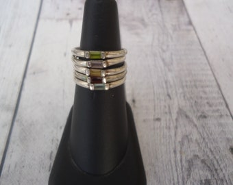 Vintage Sterling Silver and Gemstone Stacking Rings, 5 Rings, 8 Grams, Size 7