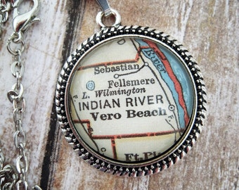 Custom Map Jewelry, Vintage Vero Beach Florida Map Pendant Necklaces, Personalized Gifts Ideas, Map Cuff Links, Groomsmen