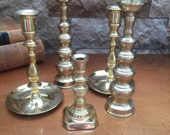 Vintage Brass Candlestick Holders  Set of 5