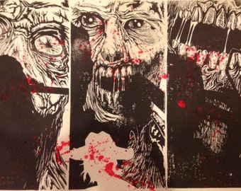 "Dead Triptych - 11"" x 17"" - Original Linocut Print - Limited Edition"