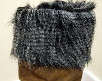 NEW Long Grey Speckled Faux Fur Cuff for Boots/Shoes/Wellies
