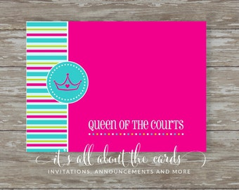 Set of 6 - 5 x 7 FLAT Tennis note cards with envelopes- Queen of the Court