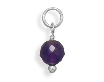 Faceted Amethyst Bead Charm - February Birthstone, 925 Sterling Silver