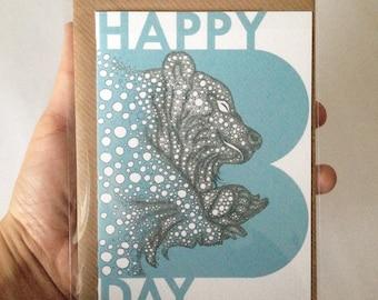 Bear // Happy Birthday Card // Animal illustration Greeting Card // Animal illustration print // A6