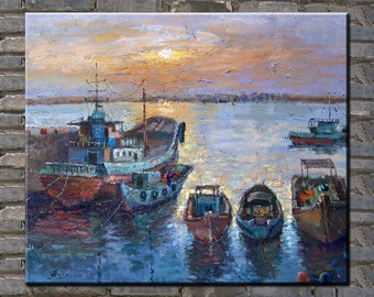 painting,oil painting,seascape painting,sunrise,boats painting by Enxu.Zhou