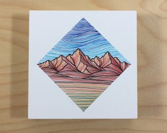 Small Mountain Block in Blue, Red, and Green - Original Pen Drawing on Wood - Colorful Mountain Art