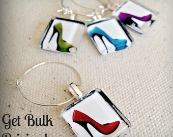 Glass Wine or Mug Charm Party Favor Tags - Sexy Stiletto Heels - Red Shoe, Blue Heel, Lime Green Heel, Orange Heel