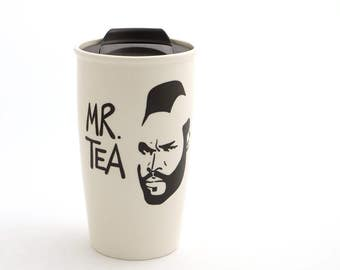 Mr T Tea Eco Travel Mug with Lid Kiln Fired, great gift for Dad, him, tea lover - 16 oz large ceramic travel mug
