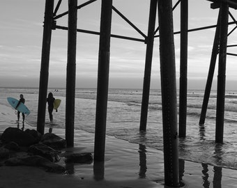 Surfers' Pass, Under the Pier at Sunset, Black and White, Beach Photography, Oceanside, California