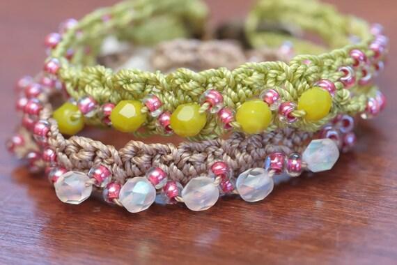 Crochet Bracelet With Beads Jewelry Tutorial Crochet Cuff