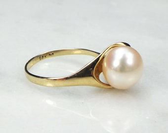 Vintage Pearl Ring White Cultured Pearl Ring 14k Yellow Gold Ring Cultured Pearl Ring Modern Style Pearl Ring